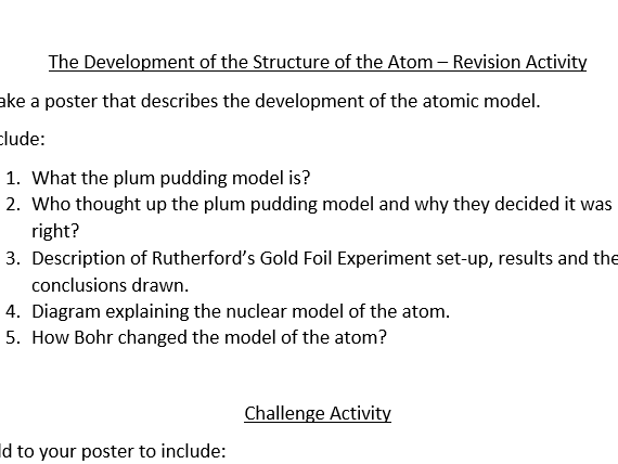 Development of the Structure of the Atom Activity