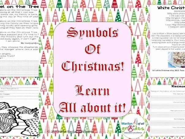 Christmas Symbols. Decorations, Angels, Shepherds, Wreaths, Tree, St Nic, Cards, Stockings...