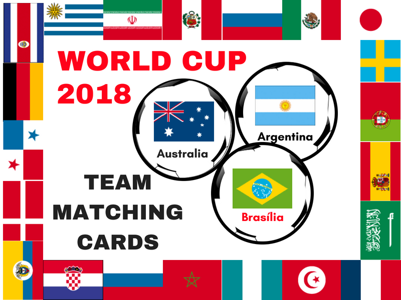 World Cup  2018 team matching cards