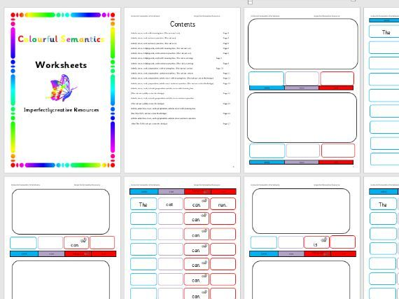 Colourful Semantics Worksheets with wordist