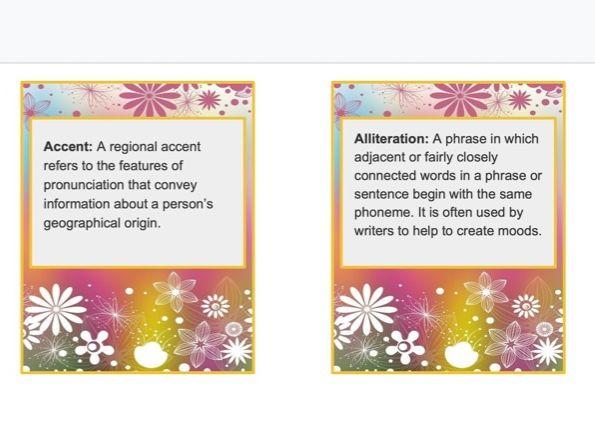 Editable English Terms, cue Cards (A-Z)