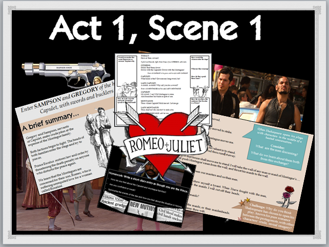 Romeo and Juliet (Act 1, Scene 1) whole lesson and worksheet