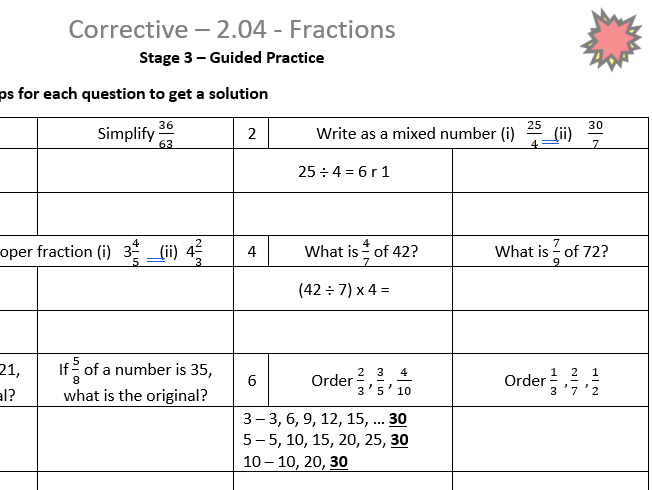 Fractions Corrective