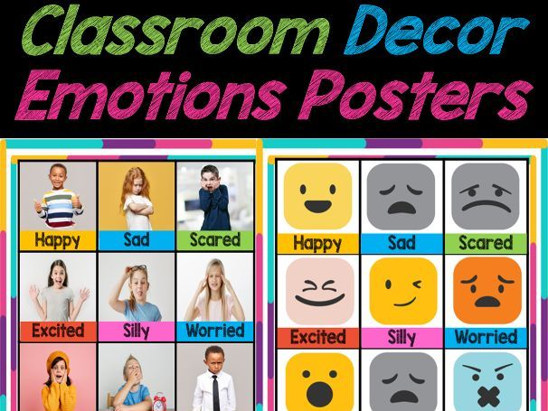 Feelings and Emotions Posters, Flashcards, Classroom Decor | Back to School