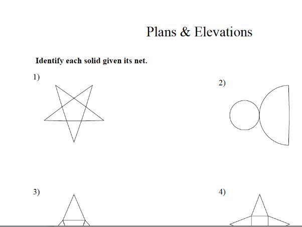 GCSE Maths : Plans & Elevation  worksheet