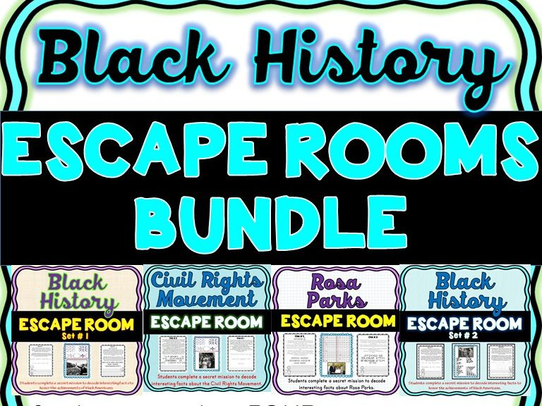 Black History ESCAPE ROOMS BUNDLE: Rosa Parks, MLK, Civil Rights Movement