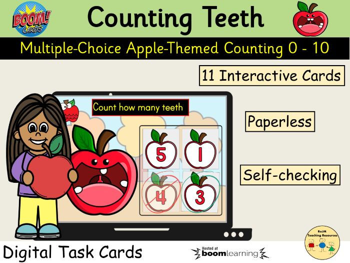 Counting 0 to 10 Apples Teeth Fall Autumn BOOM Cards™ Distance Home Learning
