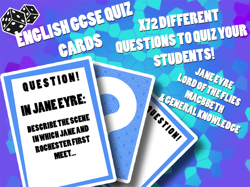 English GCSE Quiz Cards (72 questions, Jane Eye, Lord of the Flies, Macbeth etc)