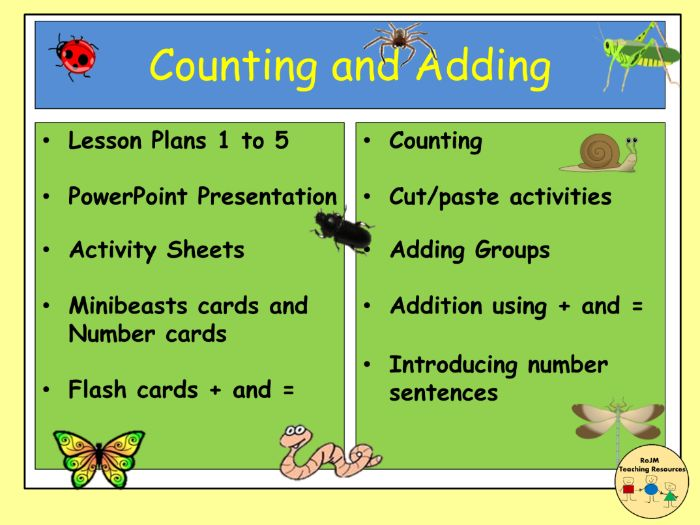 Addition Counting Minibeasts Bugs Insects Worksheets Activities  Presentation  Activities  YR/KS1