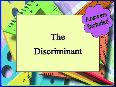 The Discriminant - over 30 questions with answers