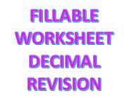 Fillable Maths Worksheet - Decimals