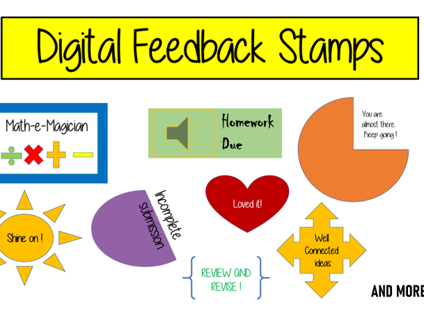 Digital Feedback Stamps - Perfect for remote learning and home schooling