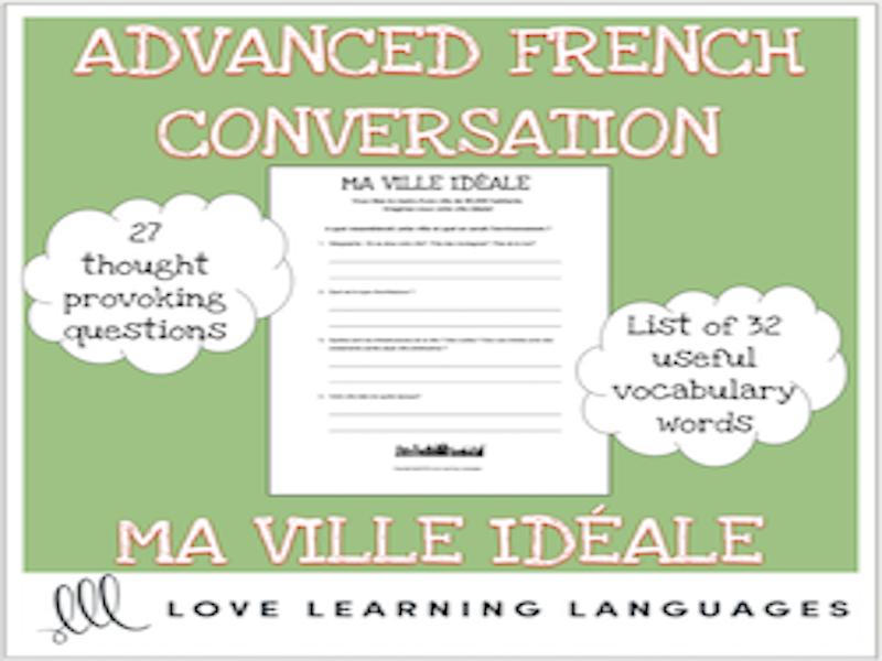 Ma ville idéale - Discussion ciblée - French themed conversation questions