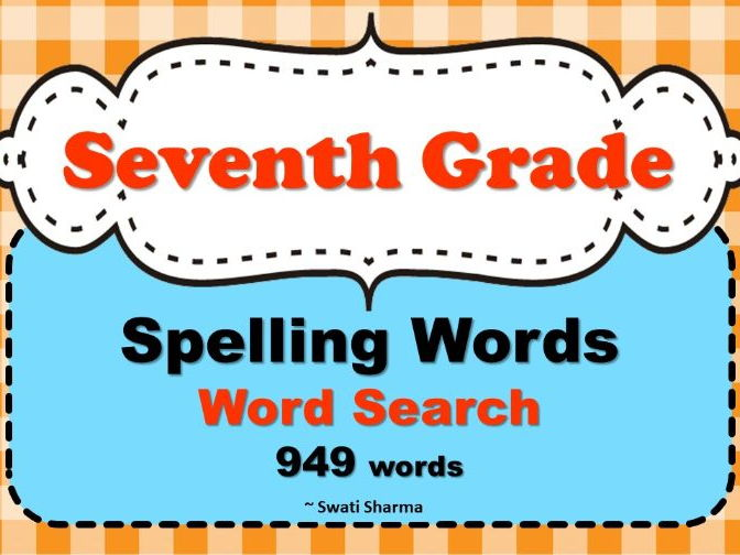 Seventh Grade Spelling Words, Word Search