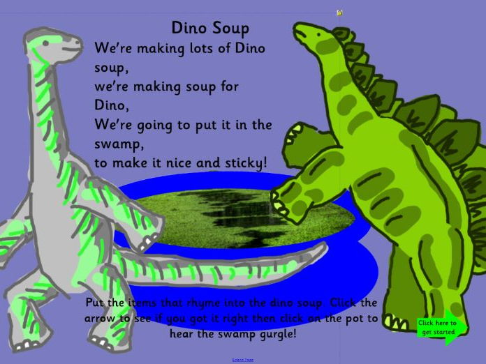 Dinosaur Soup find the things that rhyme