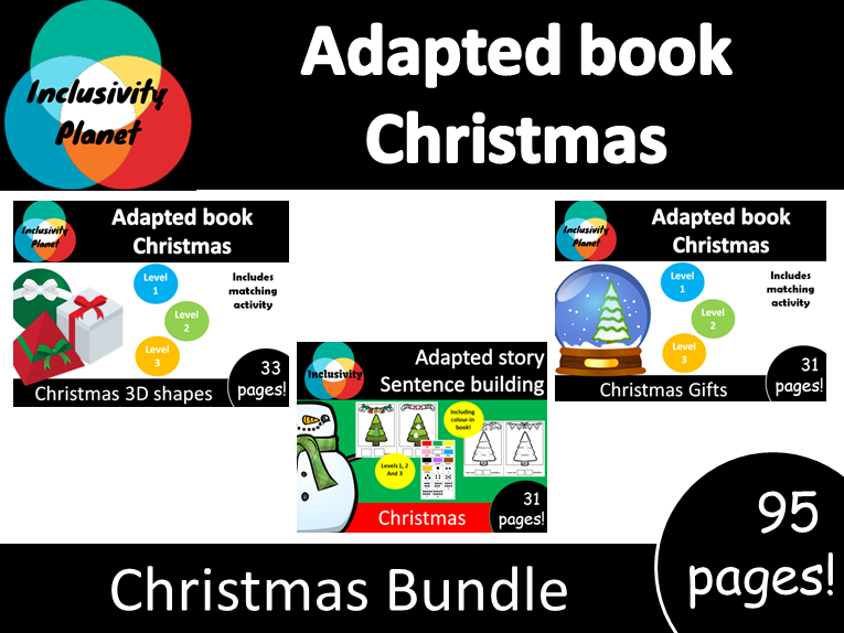 Adapted book Christmas bundle; includes all 3 books with activities!