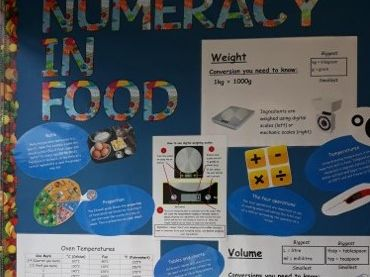 Numeracy in food and cookery wall display