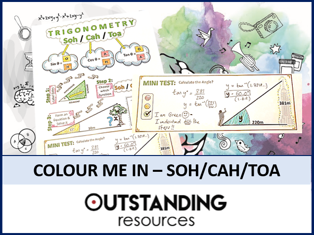 Colour Me In Sheets or Doodle Notes - SOH/CAH/TOA (Basic TRIG)