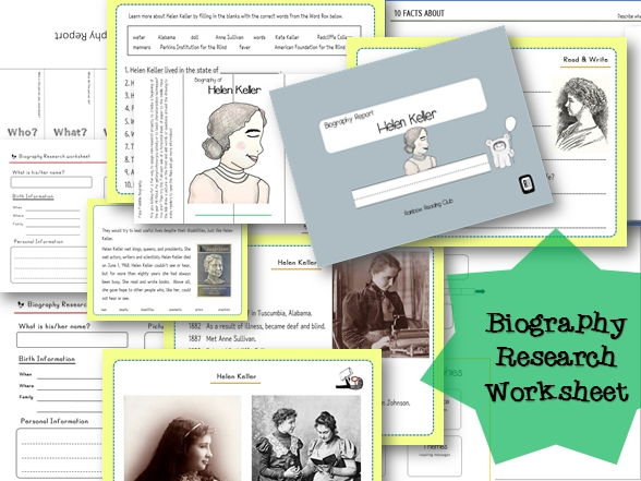 Biography Research Report / Helen Keller  Biography worksheet