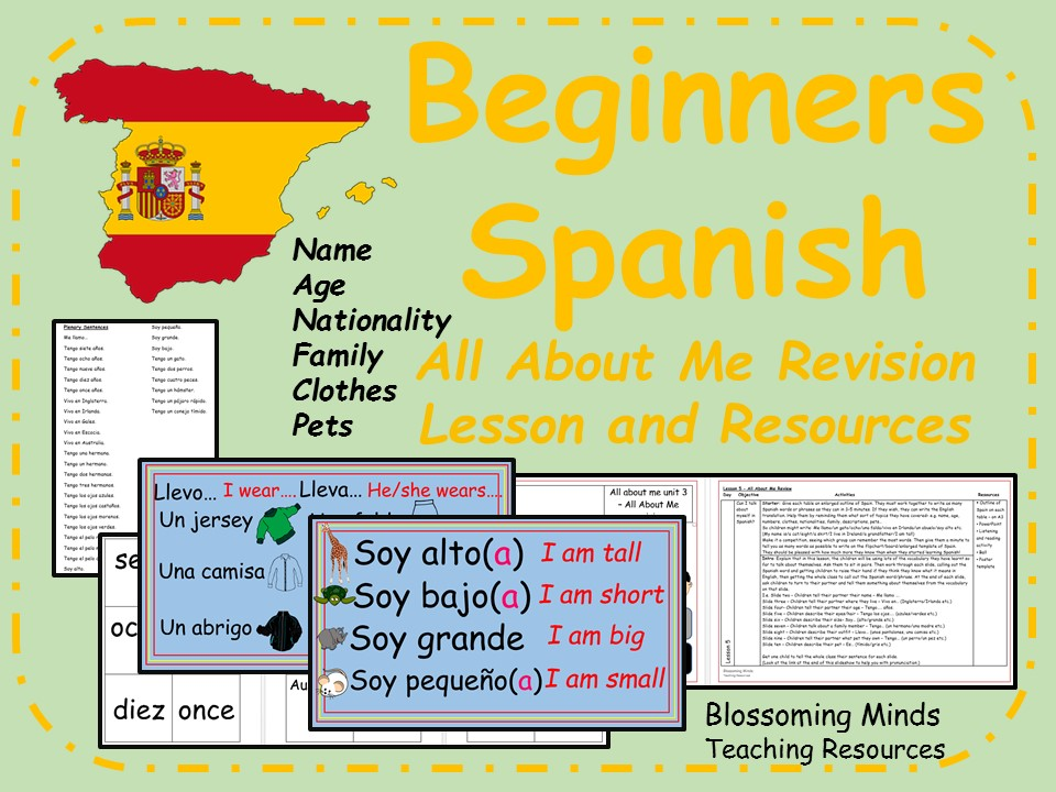 Spanish lesson and resources - KS2 - All About Me Revision