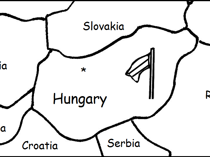HUNGARY - Printable worksheets include a map to color