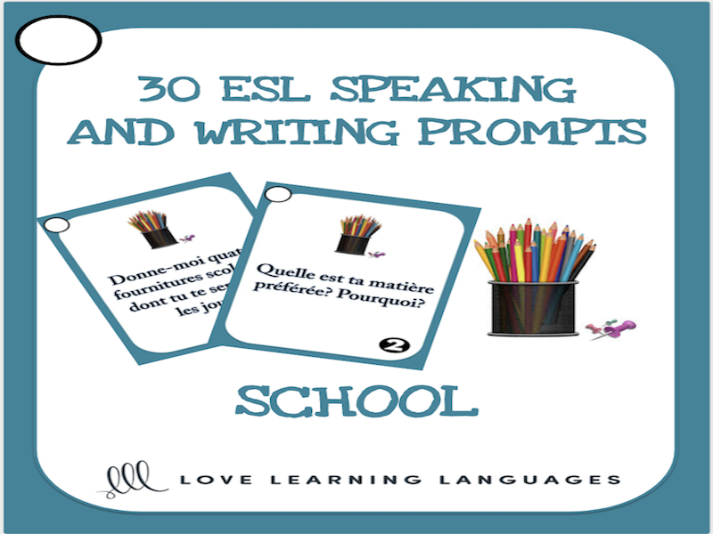 School - 30 ESL - ELL speaking and writing prompt question cards