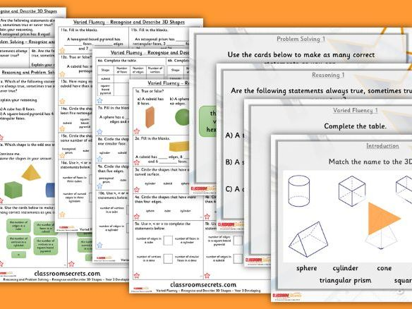 Year 3 Recognise and Describe 3D Shapes Summer Block 3 Step 8 Lesson Pack