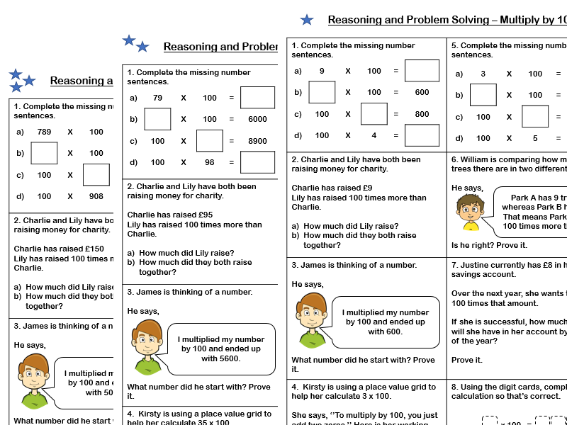 White Rose Maths - Year 4 - Block 4 - Multiply by 100 (Problem Solving and Reasoning)