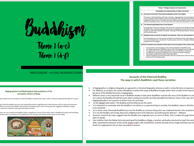 Buddhism Theme 1 (a-c) (d-f) > POWERPOINT < WJEC/EDQUAS - A-LEVEL ~ A* ~ Religious Studies