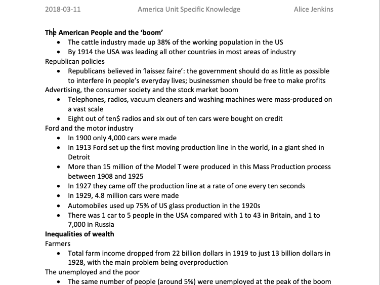 AQA GCSE History America: Opportunity and Inequality 1920-1973 Specific Knowledge for Whole Topic