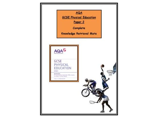 GCSE PE – AQA - Complete Booklet of Paper 2 Knowledge Retrieval/Revision Mats