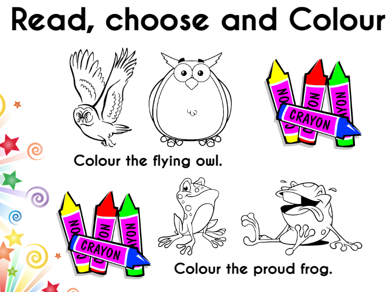 Animals, Read, Choose and Colouring Cards
