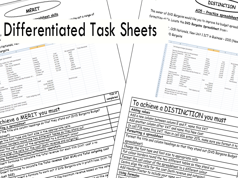 AO5 Spreadsheet practice task