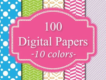 100 Basic Digital Papers Set 3 Background Papers