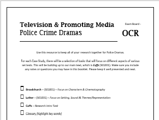 OCR 2017 Media Studies - Crime Drama Work Booklet