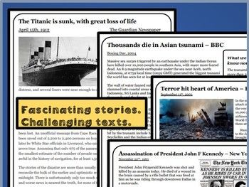 Reading Comprehensions - The day the world stood still: 9/11, tsunami, JFK and Titanic