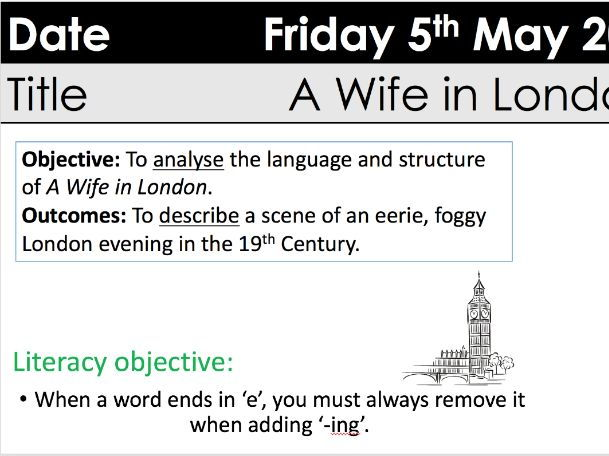 WJEC Eduqas poetry 'A Wife in London' Hardy with Boer War context and A3 extract sheet