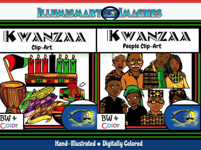 Kwanzaa People and Objects ClipArt COMBO! 36 pieces B/W and COLOR!