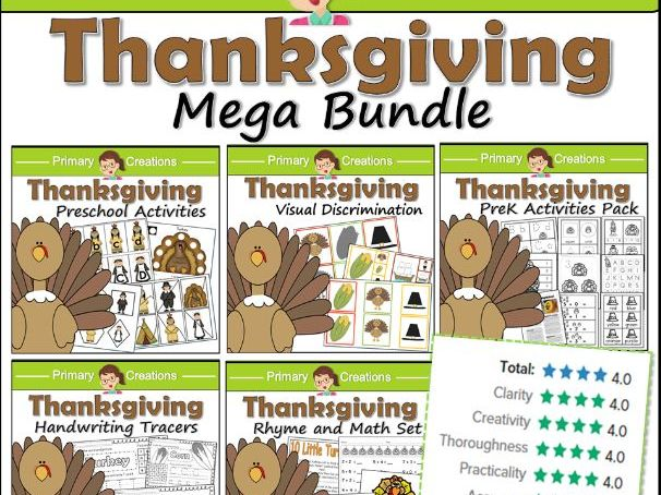Thanksgiving Handwriting Sheets PreK to Kinder (USA) - Letter formation, recognition, pencil control