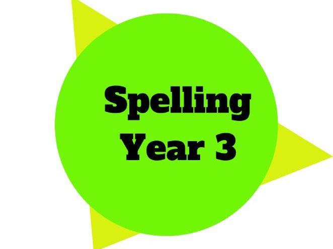 Year 3 - Year Plan - Spelling