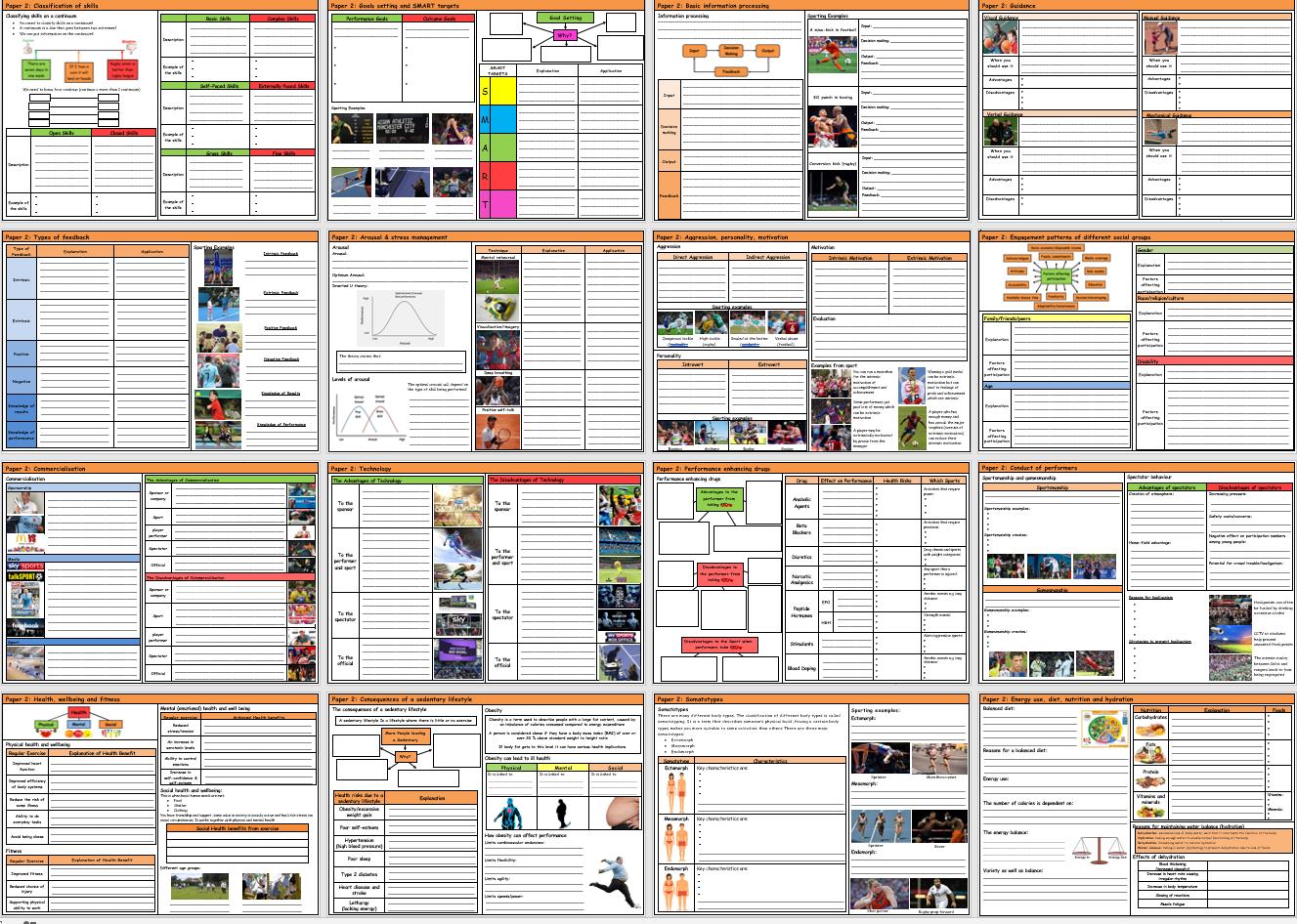 GCSE PE – AQA - Complete Paper 2 Knowledge Retrieval/Revision Mats