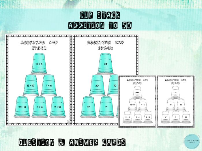 Cup Stacking Game Addition within 50 Maths Activity