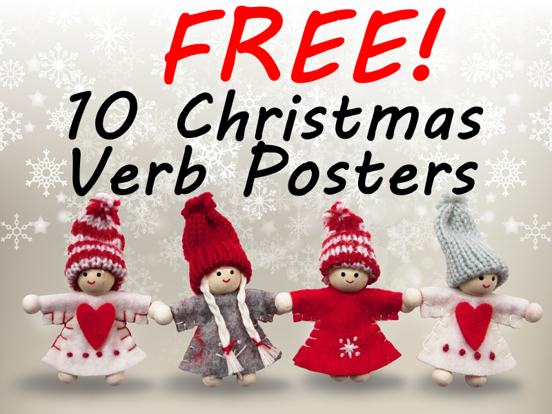 10 FREE Christmas Verb Posters - Describe Different Christmas Actions