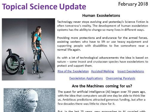 Topical Science Update - February 2018