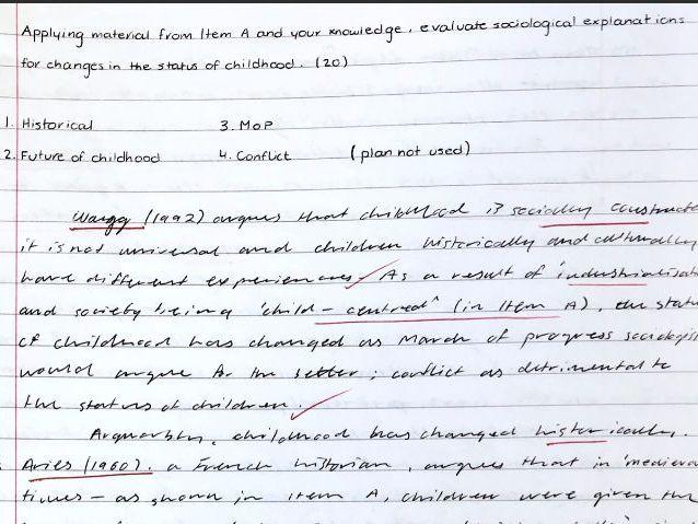 Full Mark A-level Sociology Essay Bundle (family)