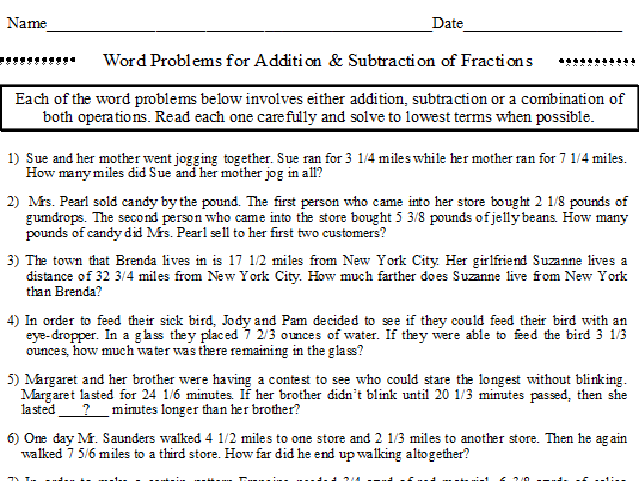 Fraction Word Problems Addition and Subtraction