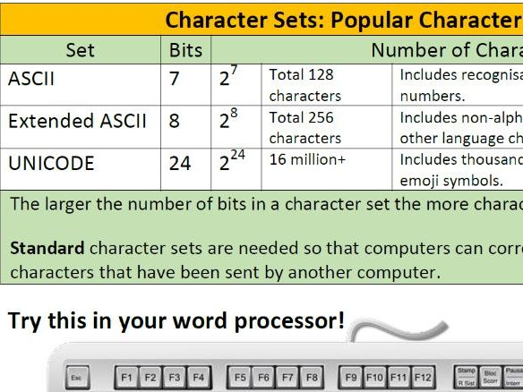 ASCII and Extended ASCII Character Sets (Worksheet)