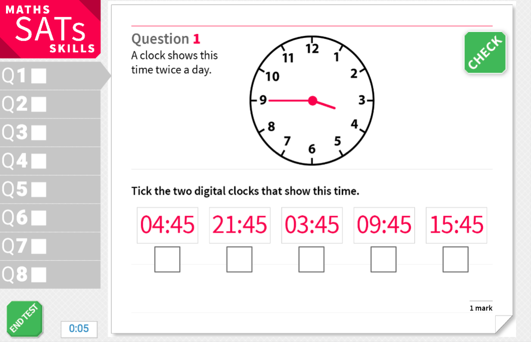 Convert time between analogue and digital - KS2 Maths Sats Reasoning - Interactive Exercises