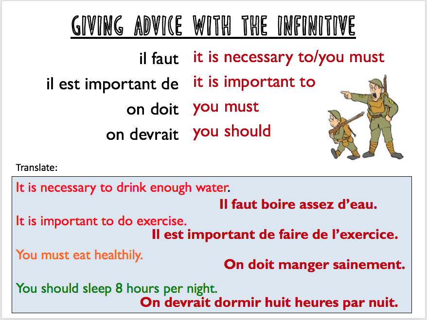 Healthy living advice : infinitives - Expo 3 Module 3 - Differentiated lesson
