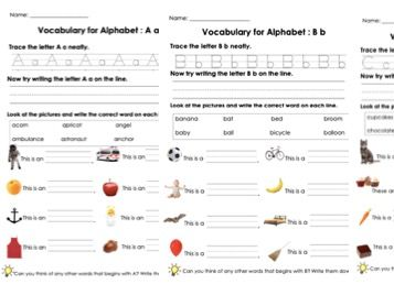 Vocabulary for Alphabets A, B and C and Handwriting